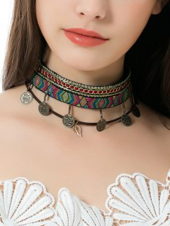 Geometric Ethnic Embroidery Leaf Coins Choker Necklace - Multicolor