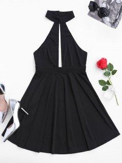 Sleeveless Plunge Mesh Backless Dress - Black M