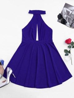 Sleeveless Plunge Mesh Backless Dress - Blue S