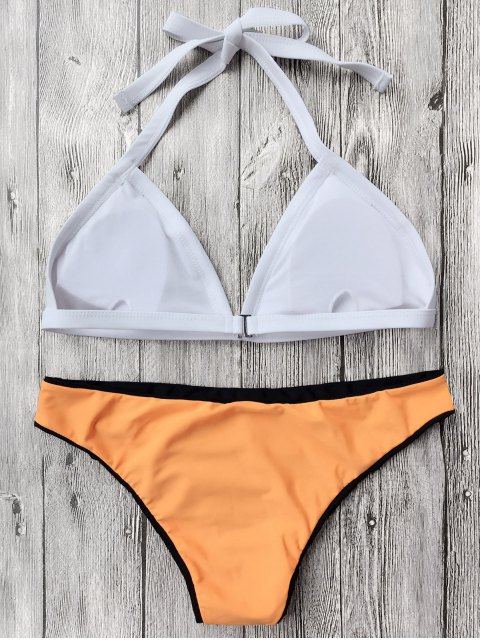 shop Color Block Pineapple Print Bathing Suit - YELLOW M Mobile