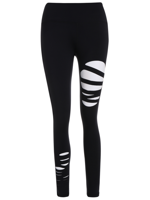 sale Ripped Tights Running Sports Leggings - BLACK M Mobile