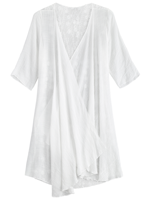 shop Sheer Embroidery Kimono Cover Up - WHITE ONE SIZE Mobile