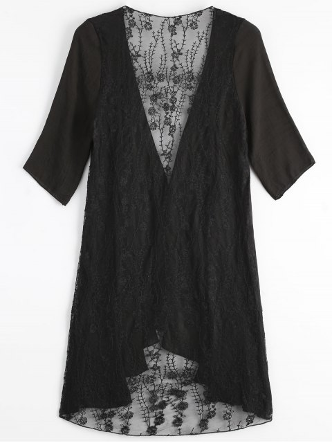 shops Sheer Embroidery Kimono Cover Up - BLACK ONE SIZE Mobile