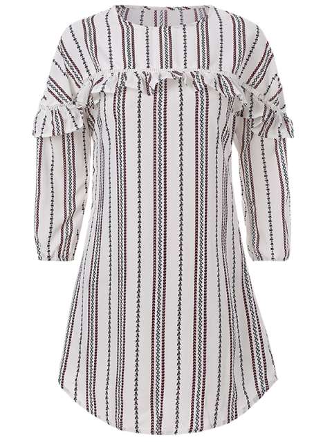 online Round Neck Ruffles Striped Shift Dress - WHITE S Mobile