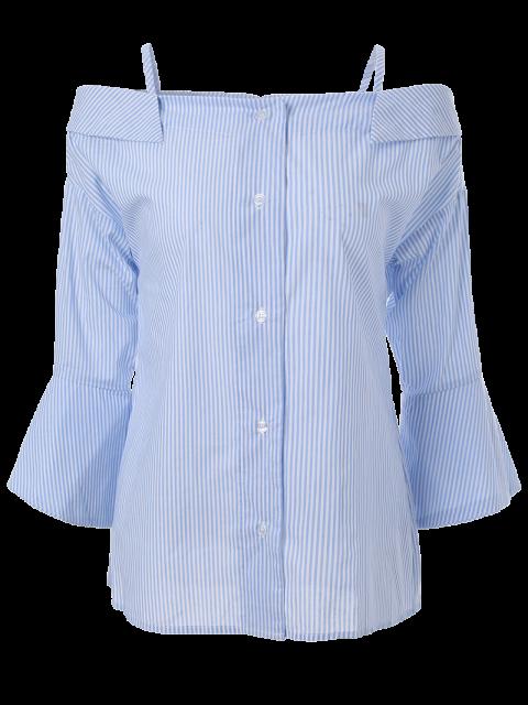 affordable Striped Cold Shoulder Bell Sleeve Shirt - LIGHT BLUE S Mobile