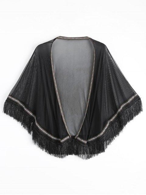 womens Ethnic Mesh Tassel Kimono Cover Up Top - BLACK ONE SIZE Mobile