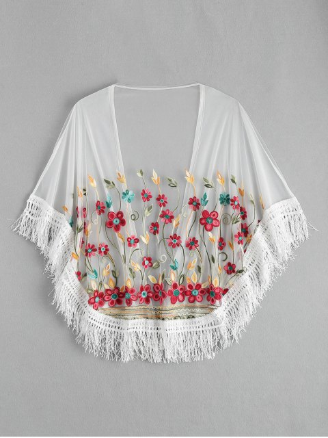 women Embroidered Mesh Tassel Kimono Cover Up - WHITE ONE SIZE Mobile