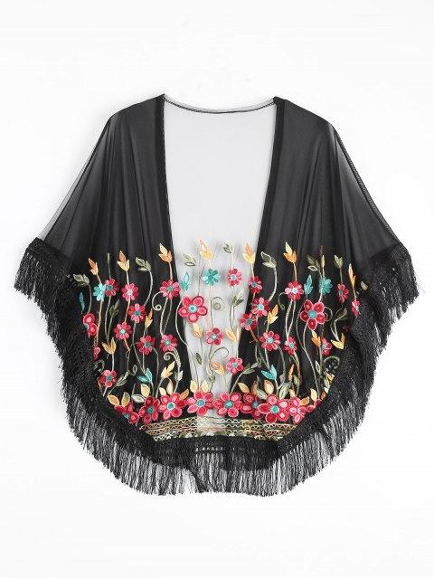women's Embroidered Mesh Tassel Kimono Cover Up - BLACK ONE SIZE Mobile