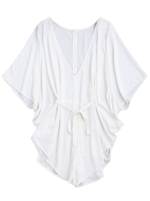 lady Drawstring Cover Up Batwing Romper - WHITE S Mobile