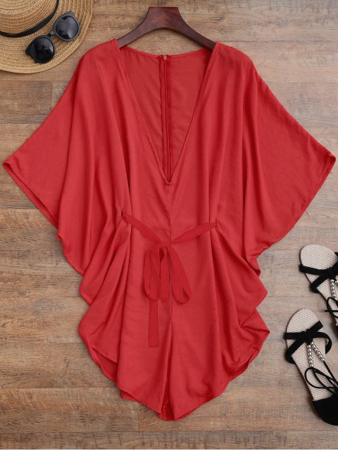 online Drawstring Cover Up Batwing Romper - RED S Mobile