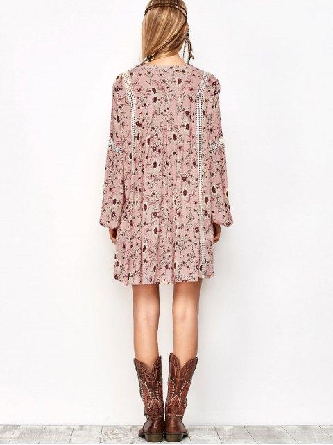 chic Floral Print Boho Swing Dress - PINK M Mobile