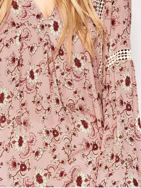 fancy Floral Print Boho Swing Dress - PINK S Mobile