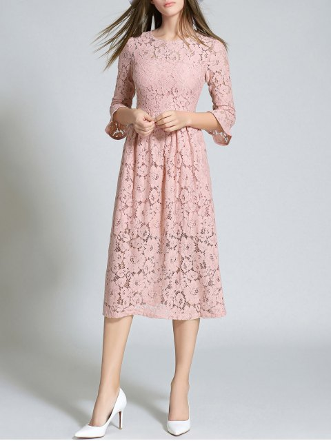 online Round Neck Flare Sleeve Lace Dress - PINK M Mobile