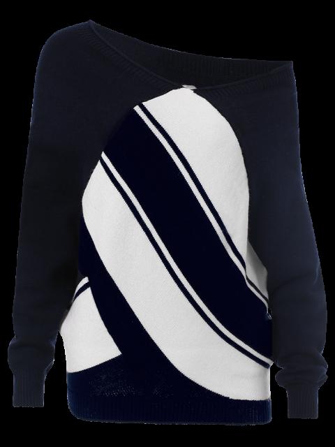 shop Pullover Skew Neck Color Block Sweater - PURPLISHBLUE + WHITE M Mobile