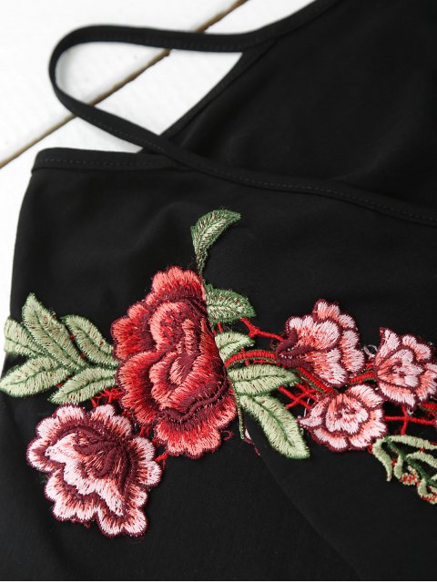 unique Cami Flower Applique V Neck T-Shirt - BLACK M Mobile