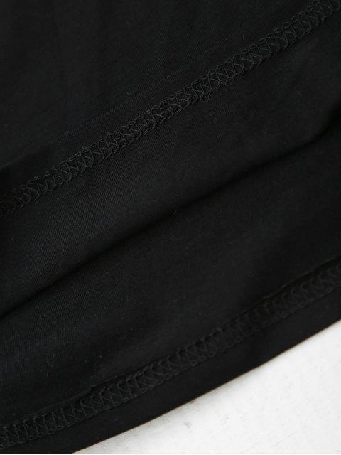 sale Cami Flower Applique V Neck T-Shirt - BLACK L Mobile