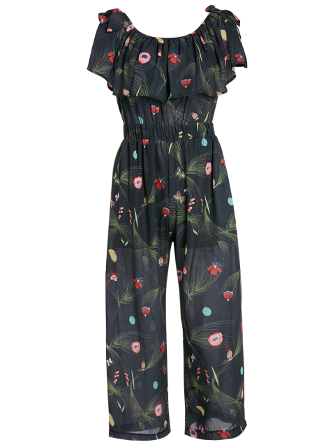 shop Off Shoulder Floral Butterfly Wide Leg Jumpsuit - BLACK ONE SIZE Mobile