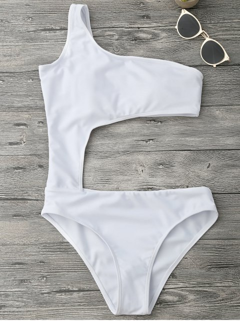 sale Asymmetric Cutout One Piece Monokini Swimsuit - WHITE S Mobile