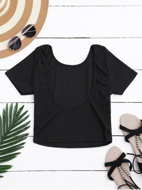 new Ribbed Low Back Crop Top - BLACK S Mobile