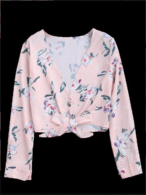sale Plunge Floral Knot Hem Crop Top - LIGHT PINK M Mobile