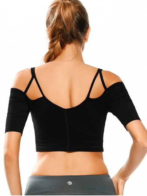 fashion Cold Shoulder Padded Sweat Crop Top - BLACK L Mobile