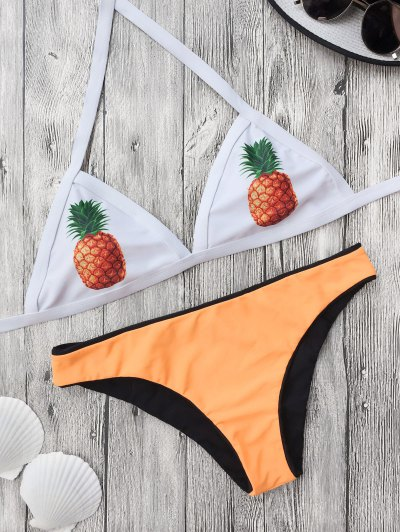 Color Block Pineapple Print Bathing Suit - Yellow