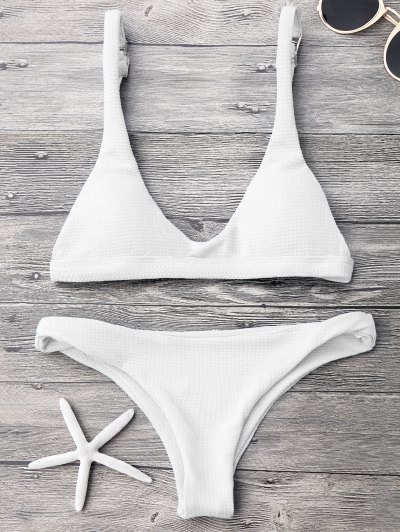 Low Waisted Padded Scoop Bikini Set - White S
