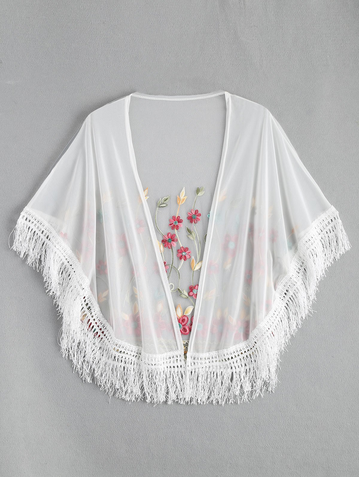 Embroidered Mesh Tassel Kimono Cover - WHITE ONE SIZE