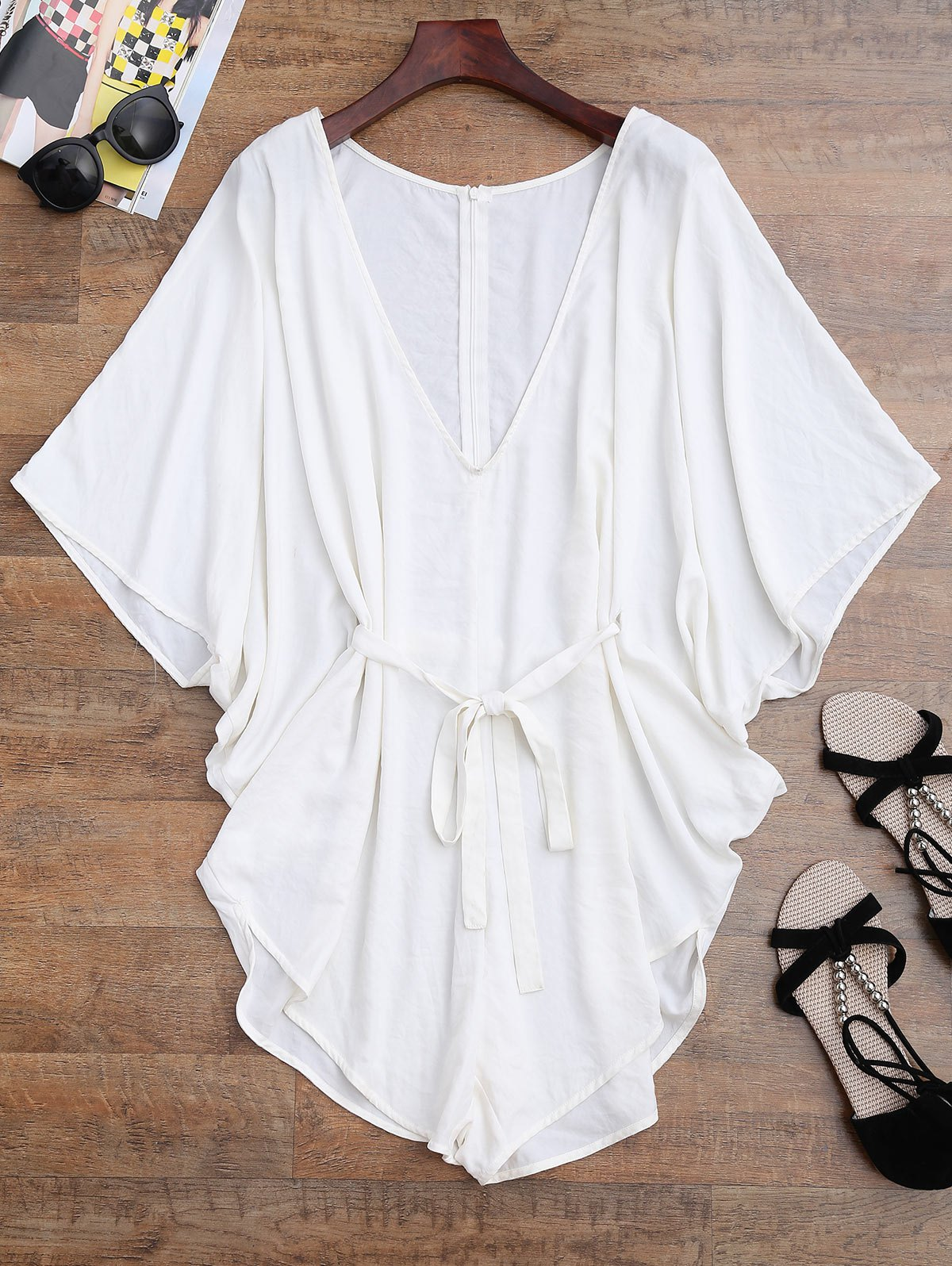 Drawstring Cover Batwing Romper - WHITE S