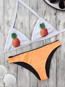 Color Block Pineapple Print Bathing Suit