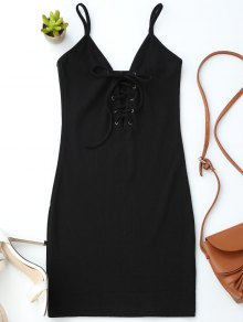 Lace Up Cami Knit Bodycon Dress - Black