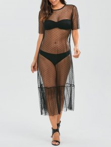 Sheer Ruffle Mesh Cover Up With Dot - Black