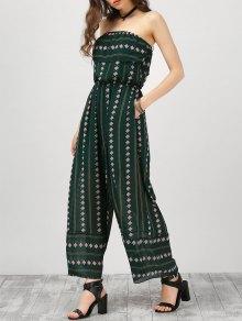 Strapless Ruffle Argyle Wide Leg Jumpsuit - Blackish Green S
