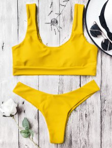 U Neck Bralette Thong Bikini Set - Yellow