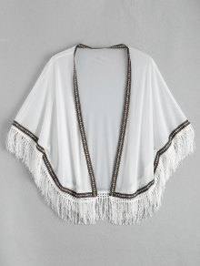 Ethnic Mesh Tassel Kimono Cover Up Top
