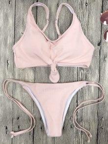 Juego De Bikini Cami Bralette String - Rosa