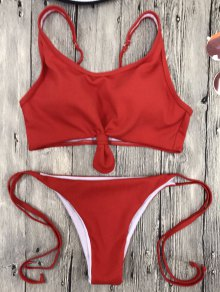 Cami Bralette String Bikini Set - Red
