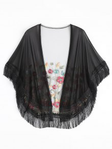 Embroidered Mesh Tassel Kimono Cover Up - Black