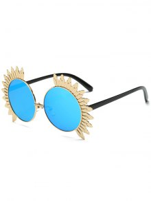 Metal Sun Design Frame Mirror Round Sunglasses - Blue