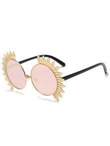 Metal Sun Design Frame Mirror Round Sunglasses - Pink