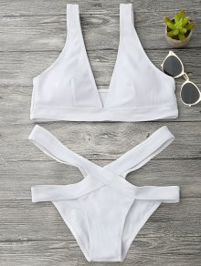 Plunge Midi Bikini Top and Bandage Bottoms