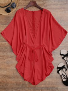 Drawstring Cover Up Batwing Romper - Red M