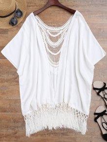 Buy Tassels Crochet Panel Batwing Kimono Cover - WHITE ONE SIZE
