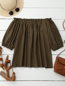 Off Shoulder Pintuck Puff Sleeve Top - Coffee