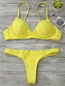 Underwire Push Up Thong Bikini Set - Jaune M