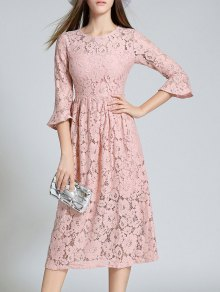 Round Neck Flare Sleeve Lace Dress - Pink M
