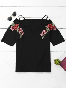 Cami Flower Applique V Neck T-Shirt