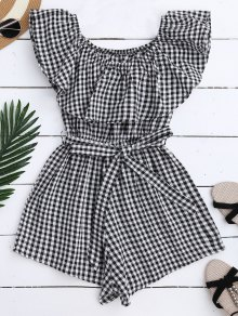 Off Shoulder Ruffle Plaid Romper With Belt - Black M