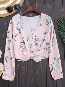 Plunge Floral Knot Hem Crop Top - Light Pink S