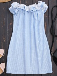 Off Shoulder Ruffle Striped Dress With Pockets